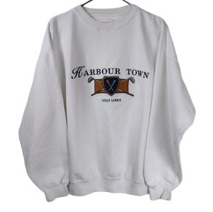 Vintage M Barbour town golf links white sweatshirt